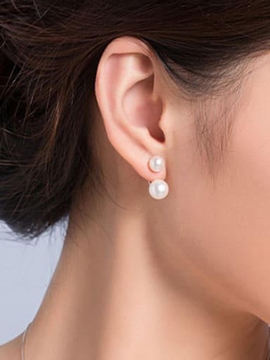 Double Freshwater Pearl stud Earring