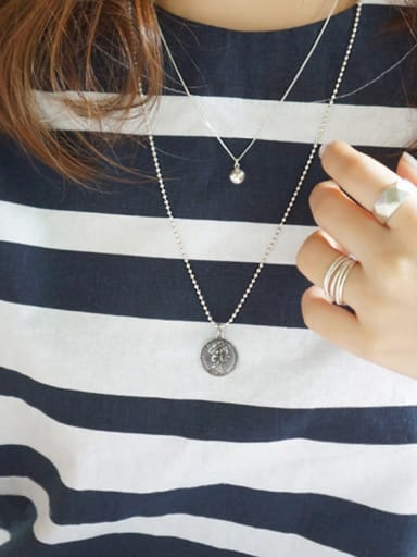 925 Sterling Silver With  Coin Pendant double-sided pattern Necklaces