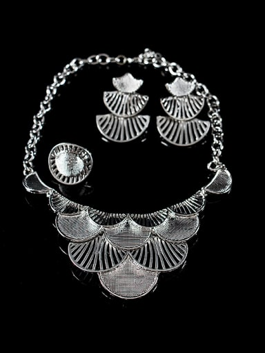 Exaggerated Fan-shaped Four Pieces Jewelry Set