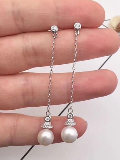 2018 Fashion Freshwater Pearl Drop threader earring