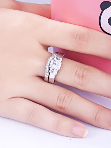 925 Sterling Silver With Cubic Zirconia Delicate Geometric Stacking Rings