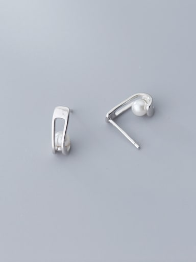 925 Sterling Silver With Artificial Pearl  Simplistic Geometric Stud Earrings