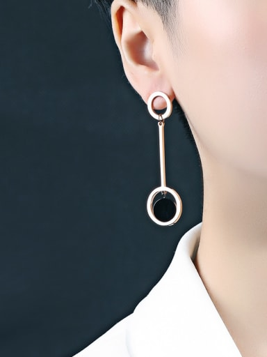 Stainless Steel With Rose Gold Plated Fashion Round Stud Earrings