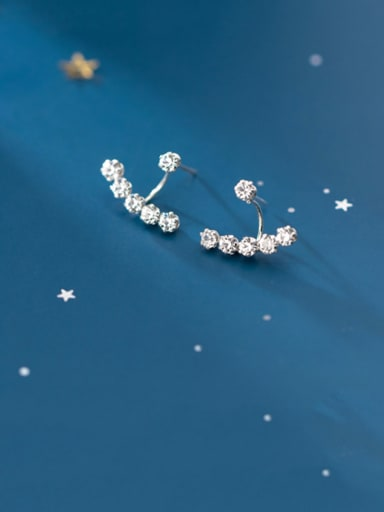 925 Sterling Silver With Platinum Plated Simplistic Fringe Stud Earrings