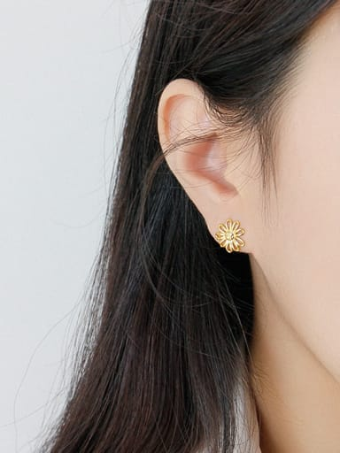 925 Sterling Silver With 14k Gold Plated Simplistic  Hollow Flower Stud Earrings