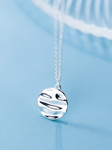 925 Sterling Silver With Silver Plated Trendy Irregularity Round Necklaces