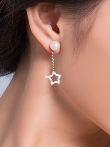 Moon Star Zircon Freshwater Pearl Stud threader earring