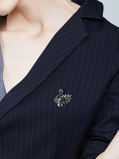 Elegant Black Swan Marquise Zircon Rhinestones Brooch