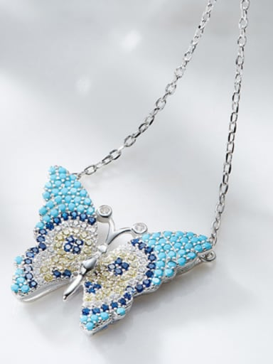 Personalized Butterfly Turquoise Stones Zircon Necklace