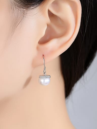 Pure silver 10-10.5mm natural pearl earrings