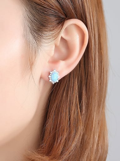 925 Sterling Silver With Opal Luxury Oval Stud Earrings