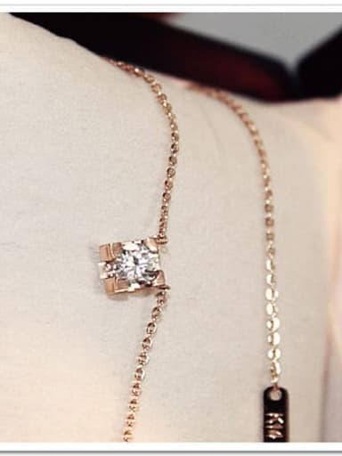 Shining Zircons Square Clavicle Necklace