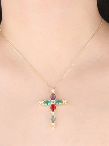 Copper With Glass stone Fashion Cross Necklaces