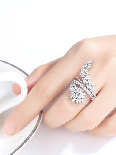 Copper inlaid AAA cubic zirconia Fashion exaggeration Cocktail ring