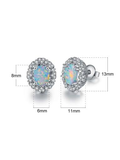 White-Opal Platinum-plated ear stud earrings 6MM
