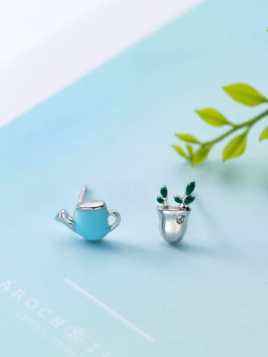 Personality Blue Potted Plant Shaped Asymmetric Crystal Stud Earrings
