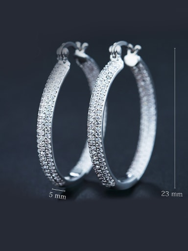 White Zircon hoop earring