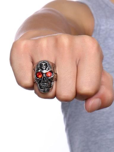 Exquisite Red Rhinestones Skull Shaped Titanium Ring