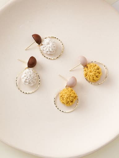 Alloy With Gold Plated Cute Round Wool Ball Drop Earrings
