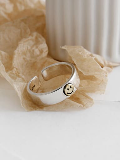 925 Sterling Silver With Platinum Plated Cute  Smiley Face Free Size Rings