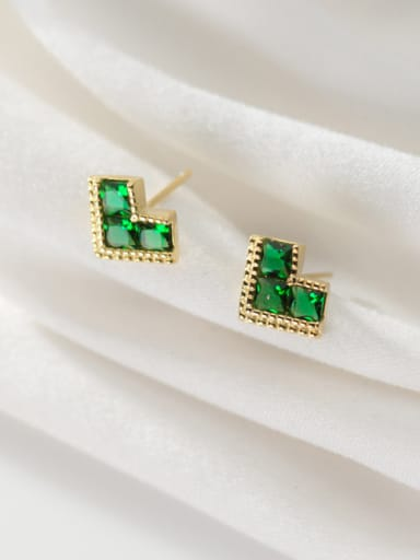 925 Sterling Silver With Gold Plated Simplistic Geometric Stud Earrings