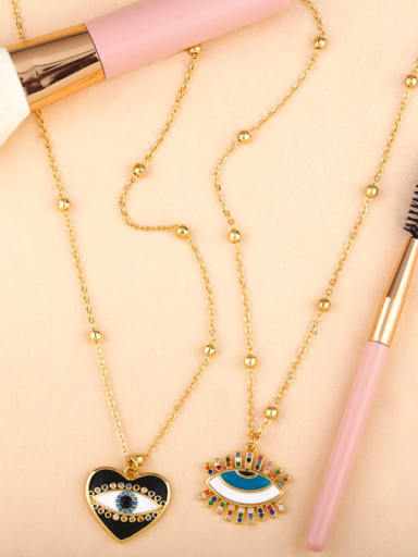 Copper With Enamel Trendy Evil Eye Necklaces