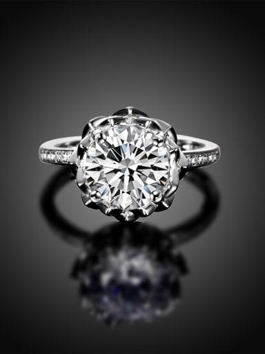 Elegant Single Flower Shaped Zircon Women Ring