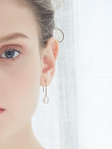 Fashion Little Water Drop Freshwater Pearl 925 Silver Earrings