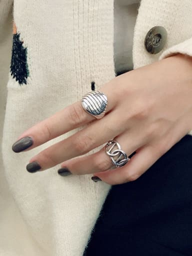 925 Sterling Silver With Platinum Plated Vintage Geometric Rhombus Stripes Free Size  Rings