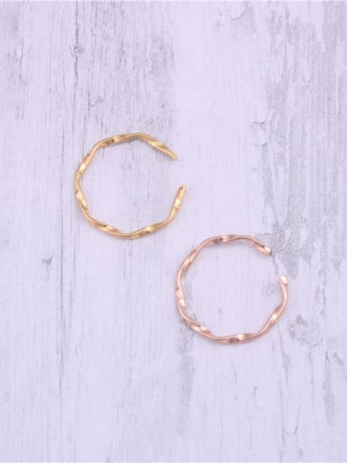 Titanium With Gold Plated Simplistic Twist Free Size  Rings