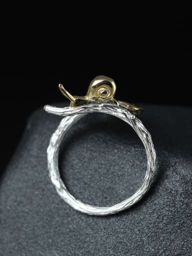 Ginkgo Leaves Lovely Snail Adjustable Ring