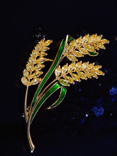 Copper With Cubic Zirconia Fashion Leaf Golden wheat spike Brooches