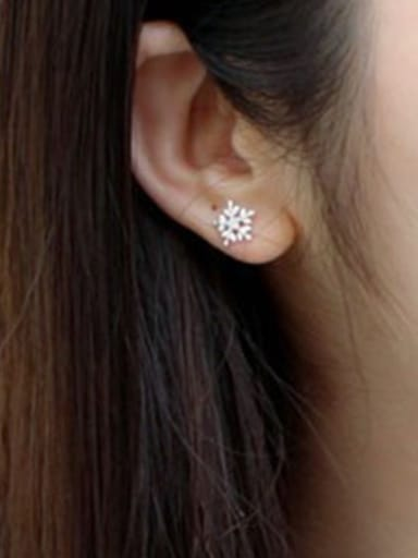 Fashion Little Snowflake Silver Stud Earrings