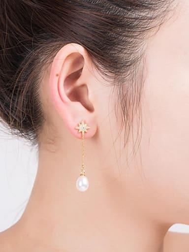 Water Drop shaped Freshwater Pearl Star Drop threader earring