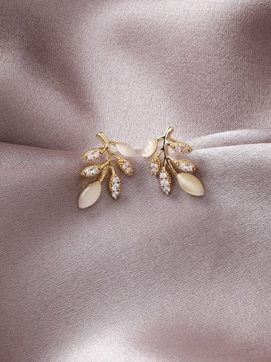 Alloy With Gold Plated Simplistic Leaf Stud Earrings