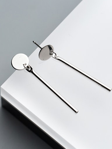 Fresh S925 Silver Round Shaped Drop Earrings