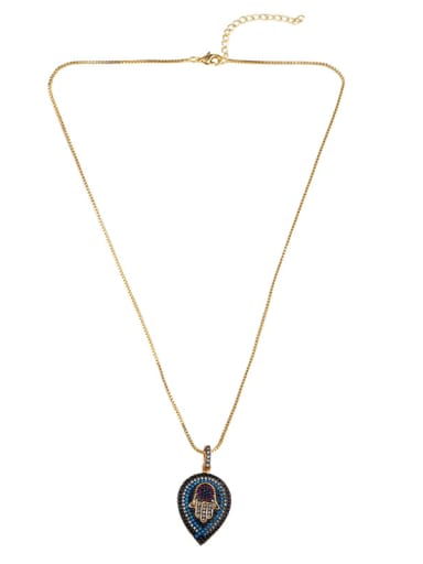 Copper With Cubic Zirconia Evil Eye/Palm  Necklaces