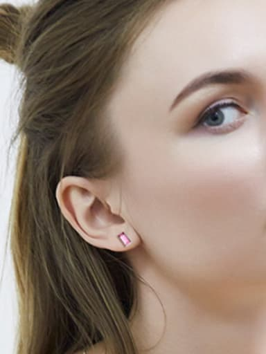 Square Shaped Crystal stud Earring
