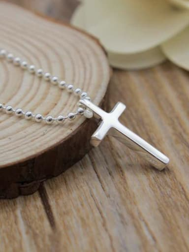 925 Sterling Silver With Platinum Plated Simplistic Smooth Cross Necklaces