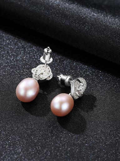 925 Sterling Silver With Platinum Plated Personality Flower Drop Earrings