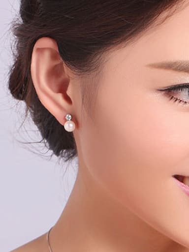 Simple Freshwater Pearl Zircon stud Earring