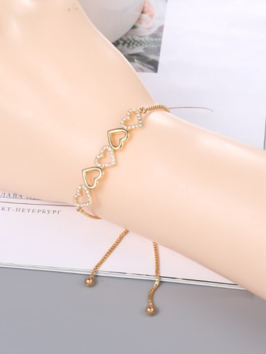 Copper With  Cubic Zirconia Simplistic Heart Adjustable Bracelets