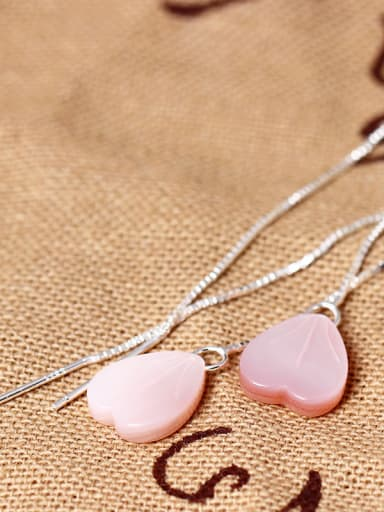 S925 Silver Pink Heart Shell Line threader earring