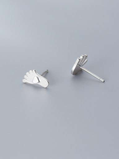 925 Sterling Silver With Platinum Plated Simplistic   Love  Heart Hands And Feet Stud Earrings