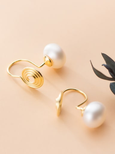 925 Sterling Silver With Artificial Pearl Simplistic Round Earless Ear Clip
