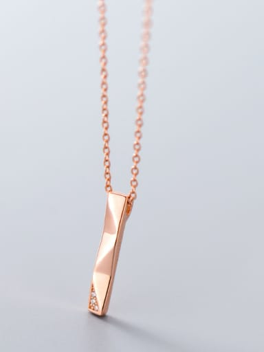 925 Sterling Silver With Rose Gold Plated Simplistic Irregular Necklaces
