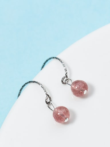 Fresh Pink Round Shaped Crystal S925 Silver Drop Earrings