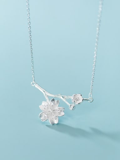 925 Sterling Silver With Platinum Plated Cute Branches Flower Necklaces