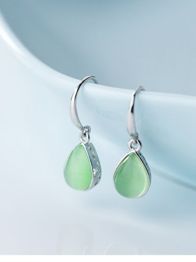 925 Sterling Silver With Platinum Plated Fashion Water Drop Hook Earrings