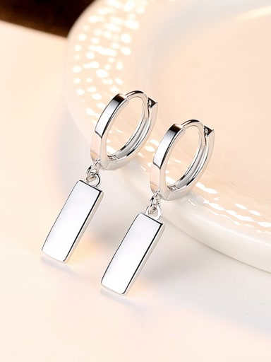 925 Sterling Silver With Platinum Plated Simplistic Geometric Clip On Earrings